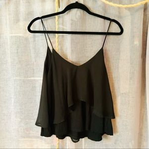 Sparkle and Fade Black Layered Flowy Tank Top